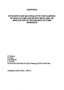 EFFICIENCY AND RATIONALITY IN THE PLANNING OF HEALTH ...