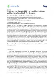 Efficiency and Sustainability of Local Public Goods and Services ...