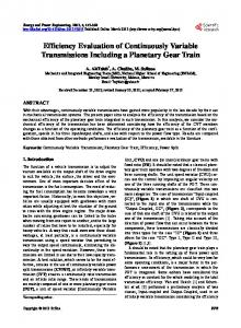 Efficiency Evaluation of Continuously Variable ... - CiteSeerX