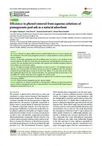 Efficiency in phenol removal from aqueous solutions of pomegranate