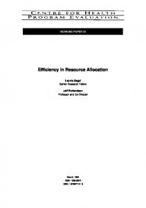 Efficiency in Resource Allocation - Semantic Scholar