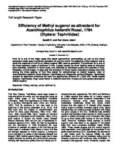 Efficiency of Methyl eugenol as attractant for Acanthiophilus helianthi ...