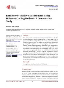 Efficiency of Photovoltaic Modules Using Different Cooling Methods: A