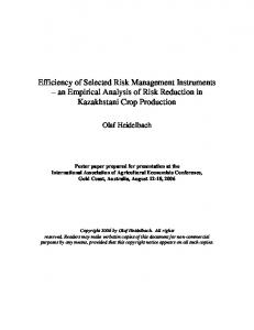 Efficiency of Selected Risk Management Instruments - AgEcon Search