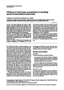 Efficiency of serial smear examinations in excluding sputum smear ...