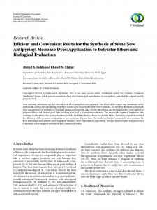 Efficient and Convenient Route for the Synthesis of Some New