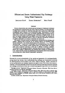 Efficient and Secure Authenticated Key Exchange Using Weak ...