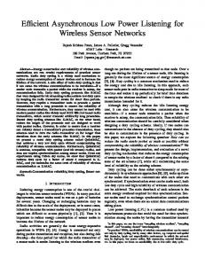 Efficient Asynchronous Low Power Listening for Wireless Sensor ...