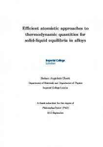 Efficient atomistic approaches to thermodynamic