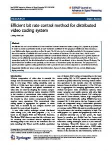 Efficient bit rate control method for distributed video coding ... - Core