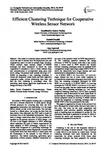 Efficient Clustering Technique for Cooperative Wireless Sensor Network