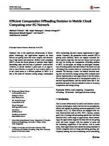 Efficient Computation Offloading Decision in Mobile Cloud Computing ...