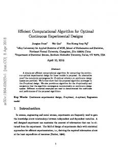 Efficient Computational Algorithm for Optimal Continuous