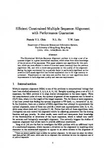 Efficient Constrained Multiple Sequence Alignment with ... - CiteSeerX