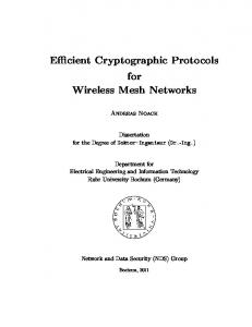 Efficient cryptographic protocols for wireless mesh networks