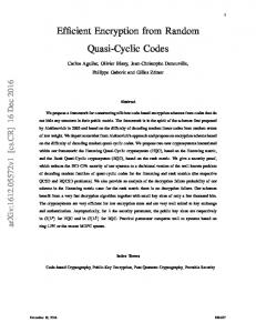 Efficient Encryption from Random Quasi-Cyclic Codes