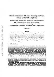 Efficient Enumeration of Induced Matchings in a Graph without Cycles ...