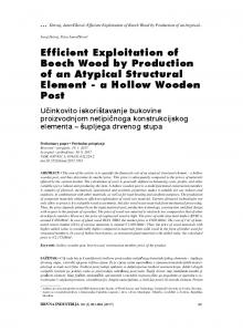 Efficient Exploitation of Beech Wood by Production of an ... - Srce