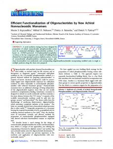 Efficient Functionalization of Oligonucleotides by New Achiral ...