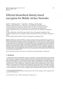 Efficient hierarchical identity-based encryption for Mobile Ad ... - Hindawi
