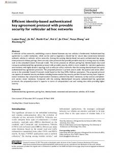 Efficient identity-based authenticated key agreement ... - SAGE Journals