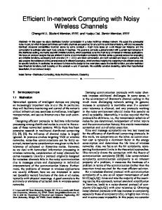 Efficient In-network Computing with Noisy Wireless ... - Semantic Scholar