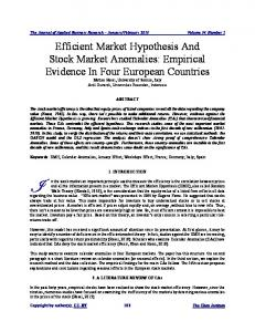 Efficient Market Hypothesis And Stock Market Anomalies: Empirical