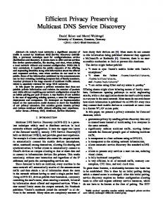 Efficient Privacy Preserving Multicast DNS Service Discovery