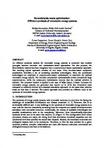 Efficient synthesis of renewable energy systems