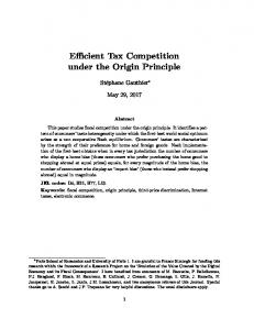 Efficient Tax Competition under the Origin Principle - Paris School of ...
