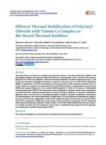Efficient Thermal Stabilization of Polyvinyl Chloride with Tannin-Ca ...