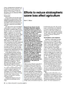 Efforts to reduce stratospheric ozone loss affect agriculture - California