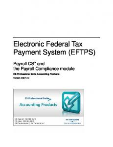 (EFTPS) for Payroll CS and the Payroll Compliance module (PDF)