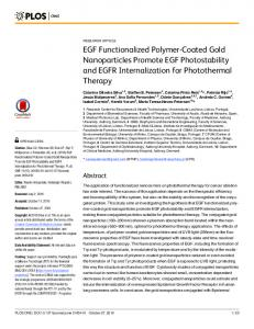 EGF Functionalized Polymer-Coated Gold Nanoparticles ... - PLOS