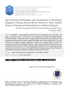 Egg Production Performance and Consumption in ...