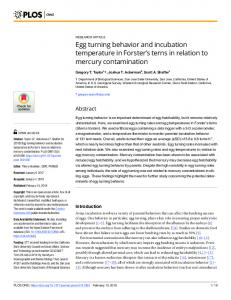 Egg turning behavior and incubation temperature in Forster - PLOS
