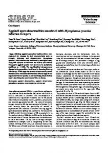 Eggshell apex abnormalities associated with Mycoplasma synoviae ...