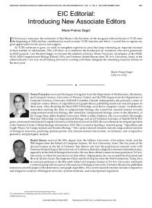 EIC Editorial: Introducing New Associate Editors