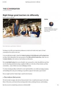 Eight things great teachers do differently