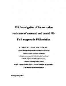 EIS Investigation of the corrosion resistance of