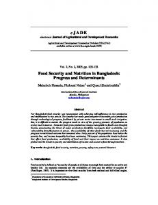 eJADE Food Security and Nutrition in Bangladesh - AgEcon Search