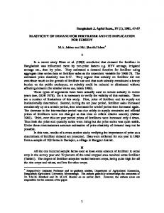 elasticity of demand for fertilizer and its implication ... - AgEcon Search