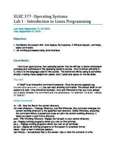 ELEC 377- Operating Systems Lab 1 - Introduction to Linux ...