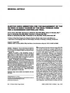 Elective neck dissection for the management of ... - Wiley Online Library