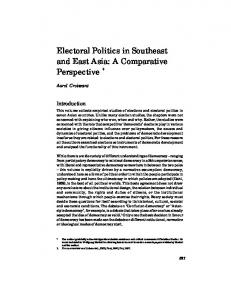 Electoral Politics in Southeast and East Asia: A Comparative Perspective