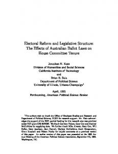 Electoral Reform and Legislative Structure: The ...