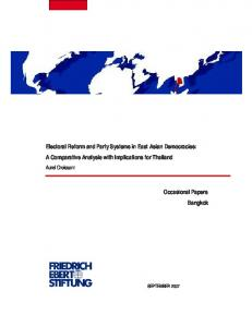 Electoral Reform and party systems in East Asian democracies : a ...