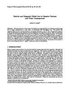 Electric and Magnetic Fields Due to Massive Photons ... - PIER Journals