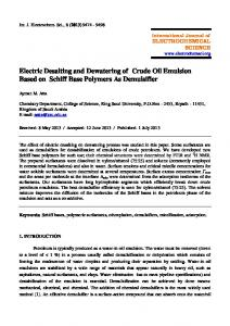 Electric Desalting and Dewatering of Crude Oil Emulsion Based on ...