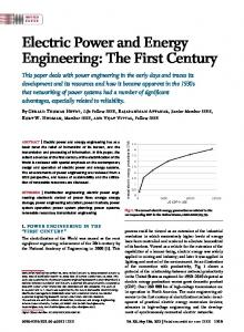 Electric Power and Energy Engineering: The First Century - IEEE Xplore